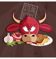 steak house with bull and meat vector image vector image