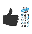 Thumb Up Flat Icon with Bonus vector image