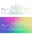 toronto skyline colorful linear style editable vector image vector image