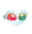 Underwater Cartoon Fish in Love with Blue Heart vector image vector image
