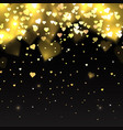 with gold glitter hearts on a dark background with vector image