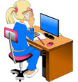 woman and computer vector image vector image