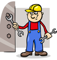 worker with wrench cartoon vector image vector image