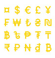 yellow world currency symbols set isolated vector image