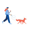 young woman with coffee walking with ginger dog vector image