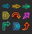 Neon realistic arrows signs vector image