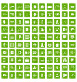 100 security icons set grunge green vector image vector image