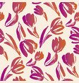 Abstract tulip flower sketch seamless pattern