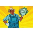 african american farmer with cabbage vector image vector image