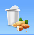 almond and yogurt package 3d vector image