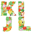 Alphabet of vegetables IJKL vector image vector image