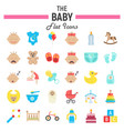 baby flat icon set kid symbols collection vector image