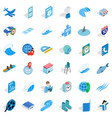 blue thing icons set isometric style vector image vector image