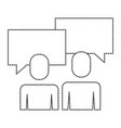 business people talking speech bubble portrait vector image