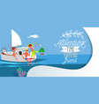 cartoon fun yacht party with friends in ocean vector image vector image