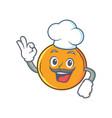 chef orange fruit cartoon character vector image vector image