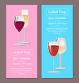 cocktail party your invitation posters set wine vector image vector image