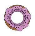 color image cartoon donut with medium pink glazed vector image vector image