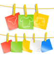 Color paper sheets on rope with pictures vector image vector image