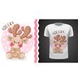 cute deer - idea for print t-shirt vector image vector image
