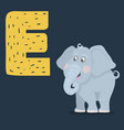elephant character with letter e isolated vector image