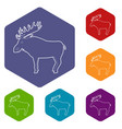 elk icon outline style vector image vector image