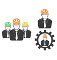 engineer head icons set vector image vector image