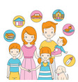 family standing together with icons vector image vector image