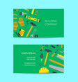 flat construction tools business card vector image vector image