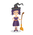 halloween witch - funny character isolated element vector image