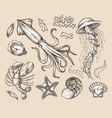 Hand drawn sketch set seafood sea animals vector image vector image