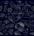 hand drawn sweets seamless pattern on dark vector image vector image