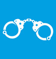 handcuffs icon white vector image vector image