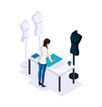isometry of a tailor the designer makes patterns vector image