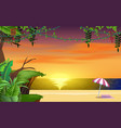 landscape beach in sunset in summer vector image vector image