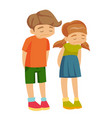 little caucasian white upset offended girl and boy vector image