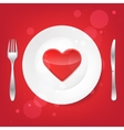 Lovely food Fork and knife and heart on the plate vector image