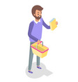 man walking with a shopping basket isolated vector image vector image