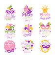 mardi gras carnival logo original design set hand vector image vector image