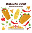 mexican food color set vector image