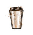 paper coffee cup from a splash watercolor vector image vector image