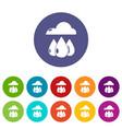 rain weather icons set color vector image
