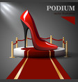 Red shoes standing on the podium vector image vector image