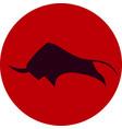 savage bull icon red black vector image
