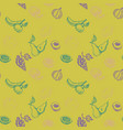 seamless pattern with drawing fruits vector image vector image