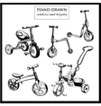set hand drawn scooters and bicycles vector image vector image