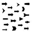 set of black various arrows vector image