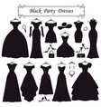 silhouette black party dressesfashion flat vector image