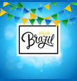 square hello brazil background with flags image vector image