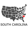 state of south carolina on map of usa vector image vector image